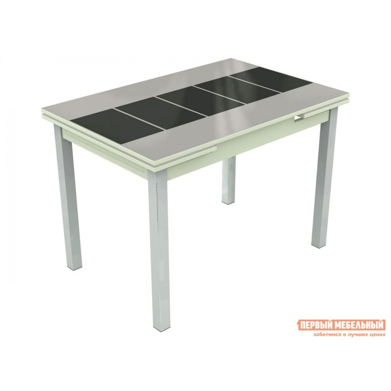 Кухонный стол  Шанхай - каре Стекло Белое, Рисунок Черный / ЛДСП Белая, Средний