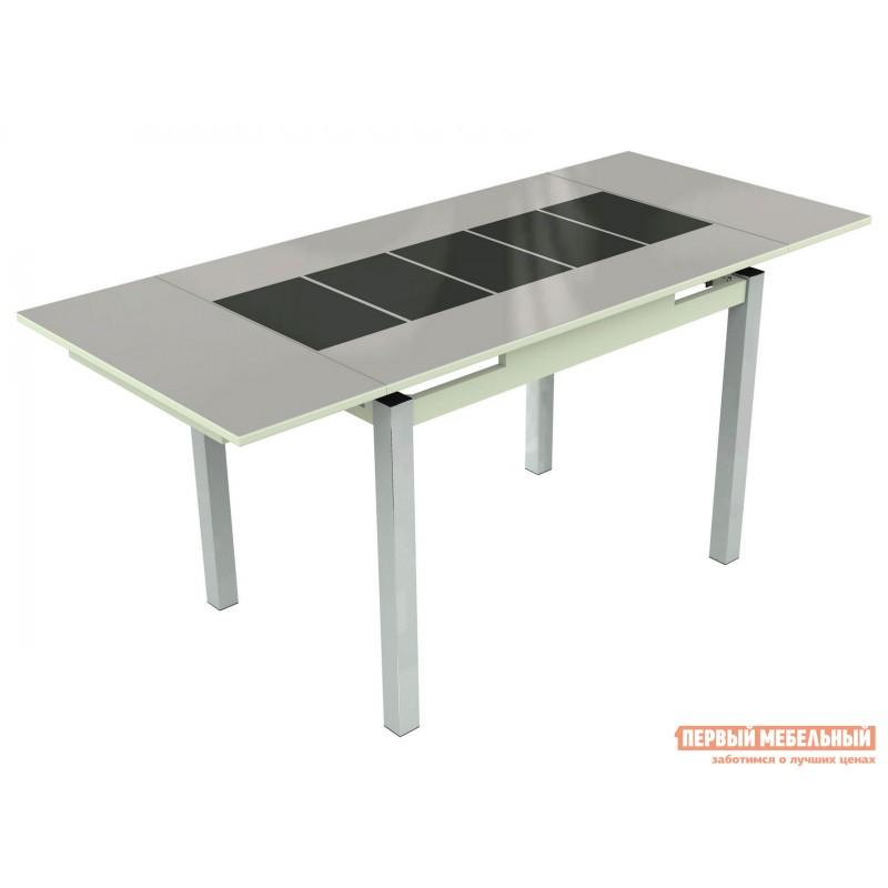 Кухонный стол  Шанхай - каре Стекло Белое, Рисунок Черный / ЛДСП Белая, Средний (фото 2)