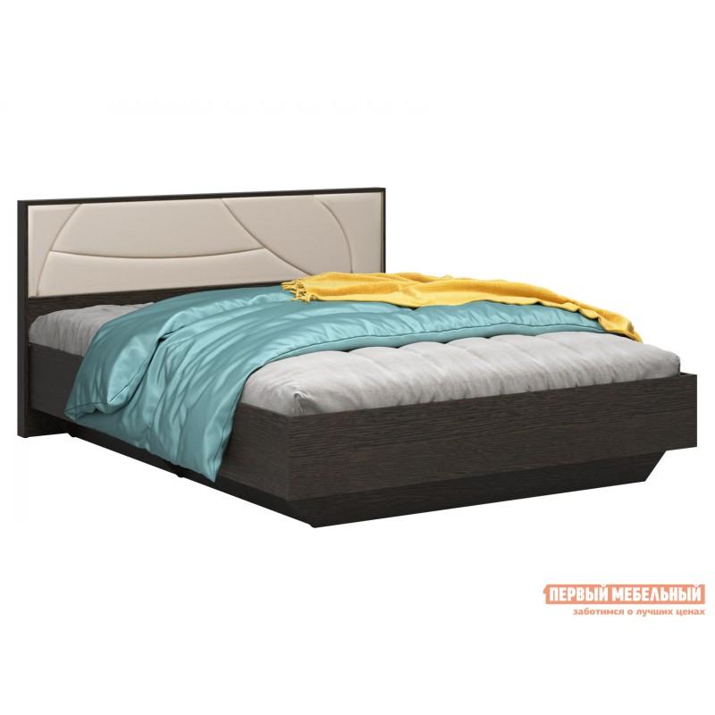 Двуспальная кровать  Мирти Люкс Венге / Ваниль, экокожа, 140х200 см, С анатомическим основанием