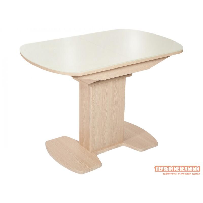 Кухонный стол  Стол Корсика (110/141,5*70) Стекло Молочное / ЛДСП Дуб выбеленный