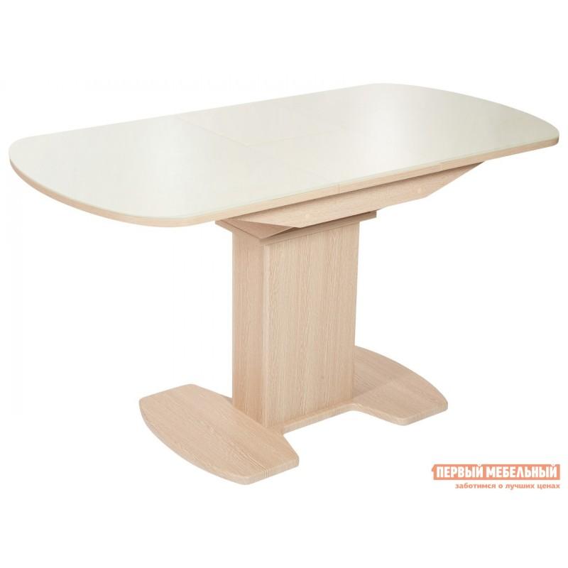 Кухонный стол  Стол Корсика (110/141,5*70) Стекло Молочное / ЛДСП Дуб выбеленный (фото 2)
