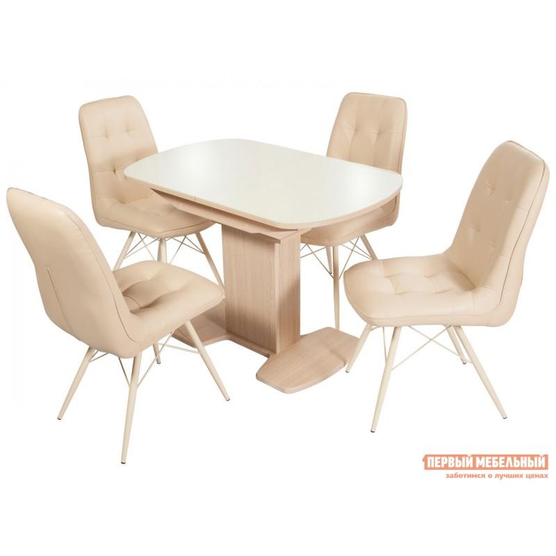 Кухонный стол  Стол Корсика (110/141,5*70) Стекло Молочное / ЛДСП Дуб выбеленный (фото 4)