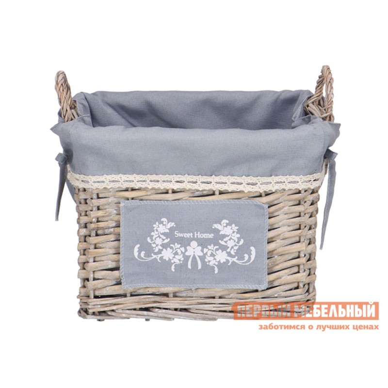 Корзина для хранения  Лен Ивовая лоза / Серый, ткань, S