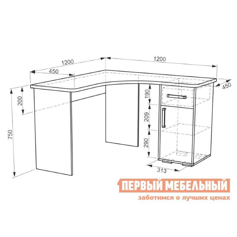 Письменный стол  Лайт-1 угловой Дуб сонома / Белый (фото 4)