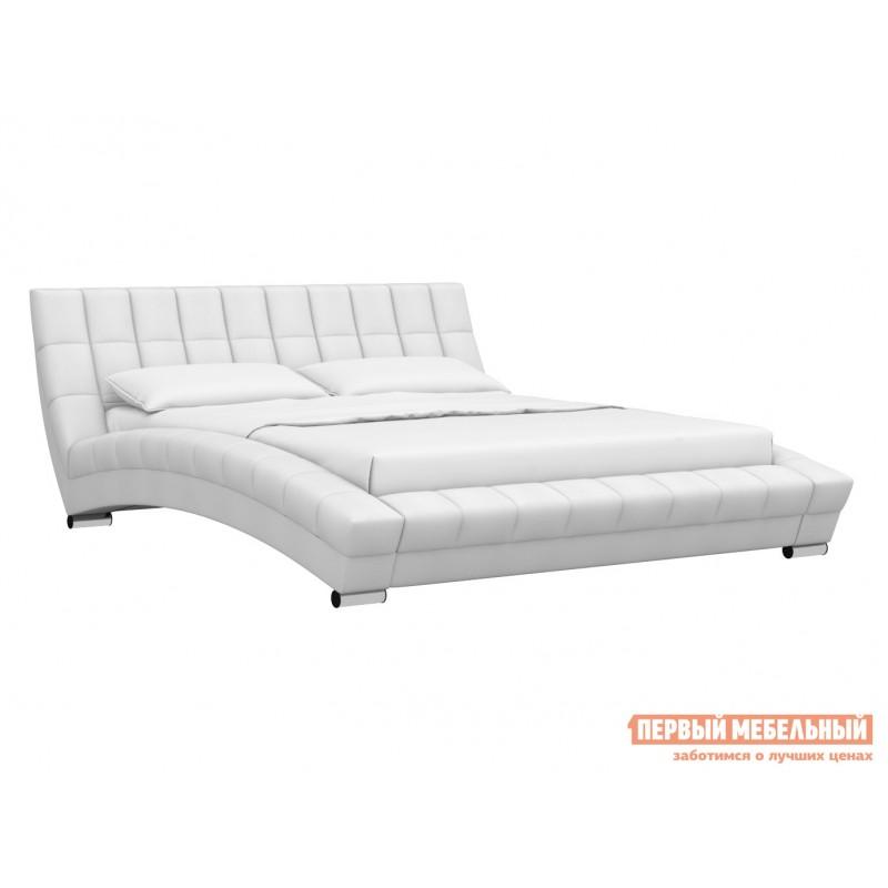 Двуспальная кровать  Кровать Оливия 160х200 Белый, экокожа