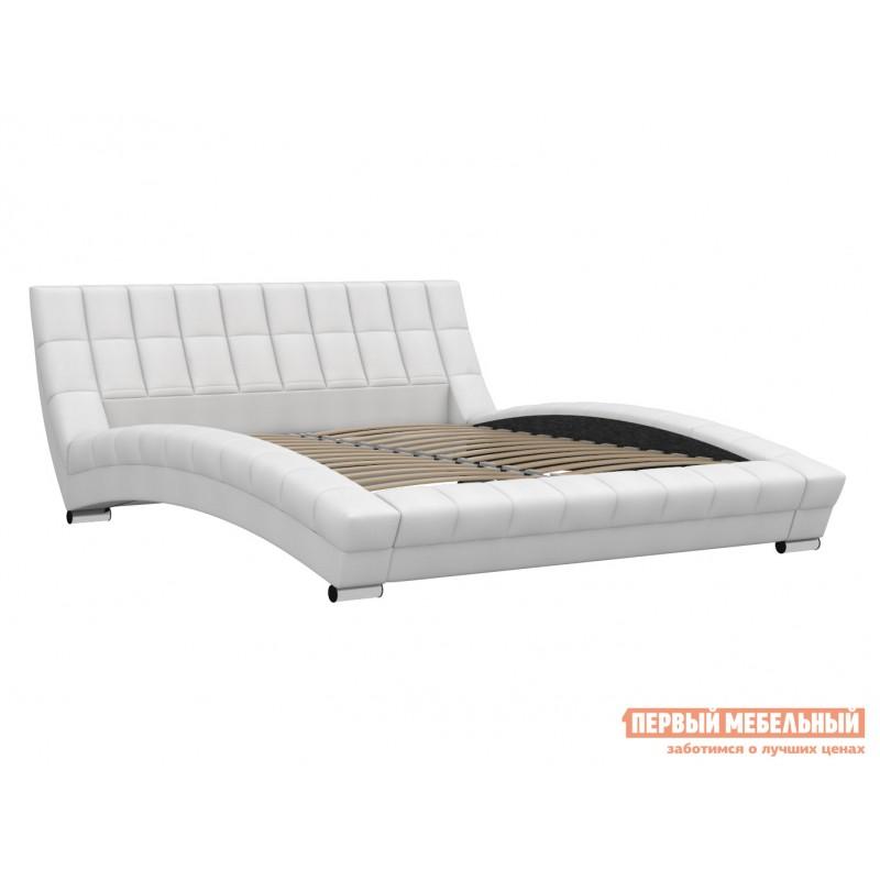 Двуспальная кровать  Кровать Оливия 160х200 Белый, экокожа (фото 2)