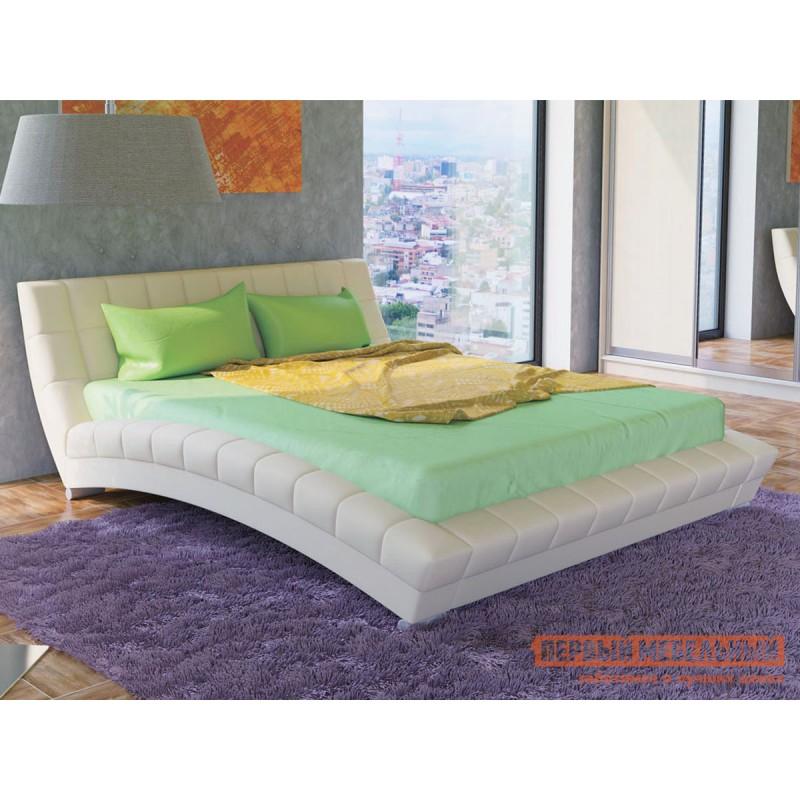 Двуспальная кровать  Кровать Оливия 160х200 Белый, экокожа (фото 3)
