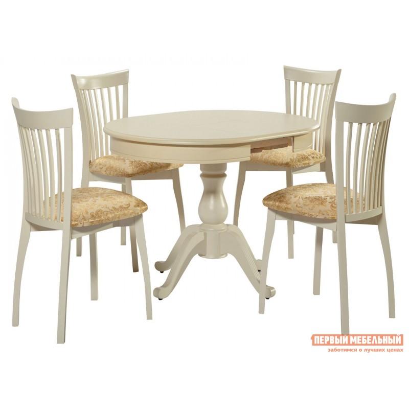 Обеденная группа для столовой и гостиной  Стол Фабрицио + 4 стула Тулон Слоновая кость / Андрис Вензель 160