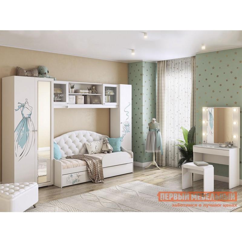 Детский шкаф  Гламур Шкаф комбинированный Белый / Белый глянец (фото 6)