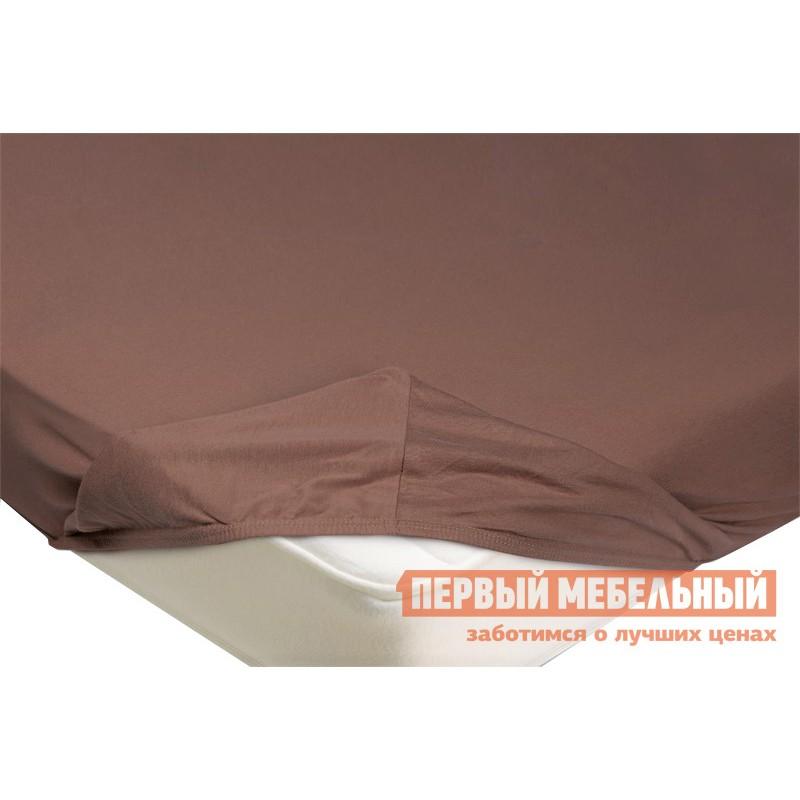 Простыня  Простыня на резинке трикотажная Светло-коричневый, 1400 Х 2000 Х 200 мм
