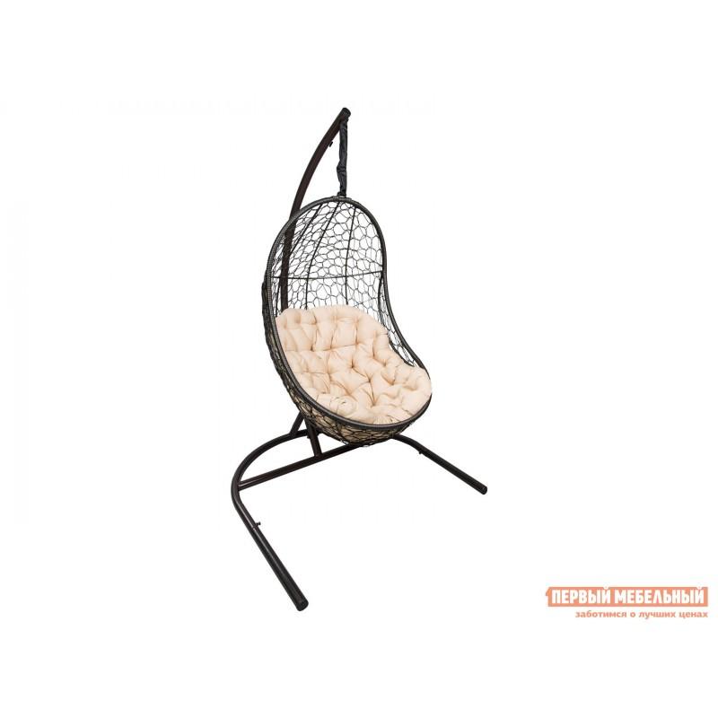 Подвесное кресло  ВЕГА Темно-коричневый, ротанг / Бежевый, ткань
