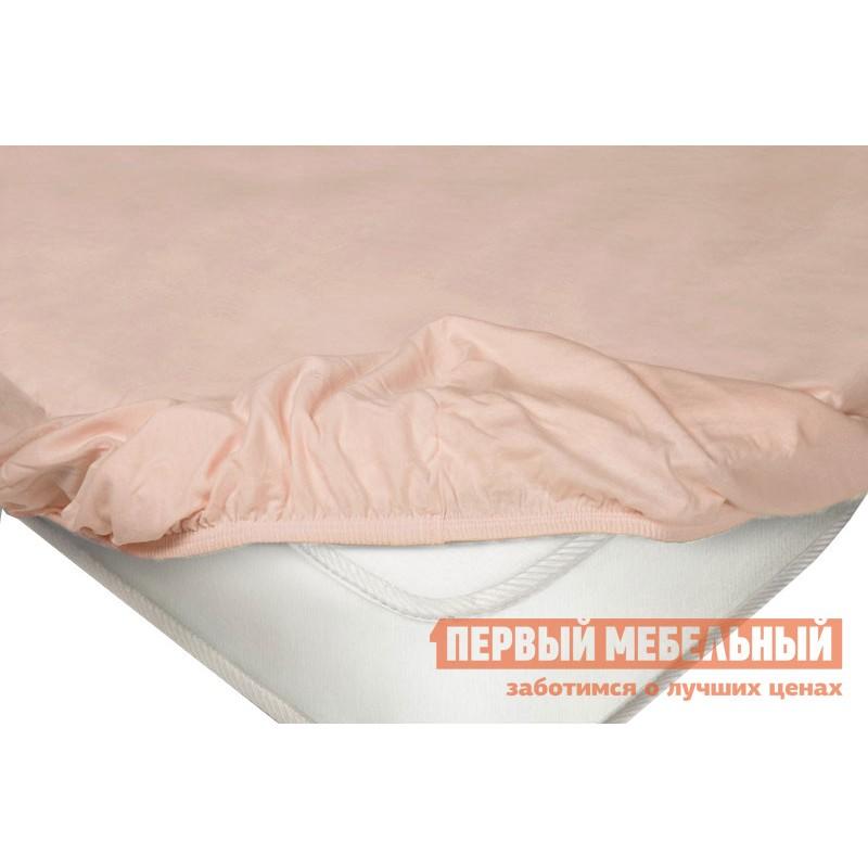 Простыня  Простыня на резинке трикотажная Розовый, 900 Х 2000 Х 200 мм