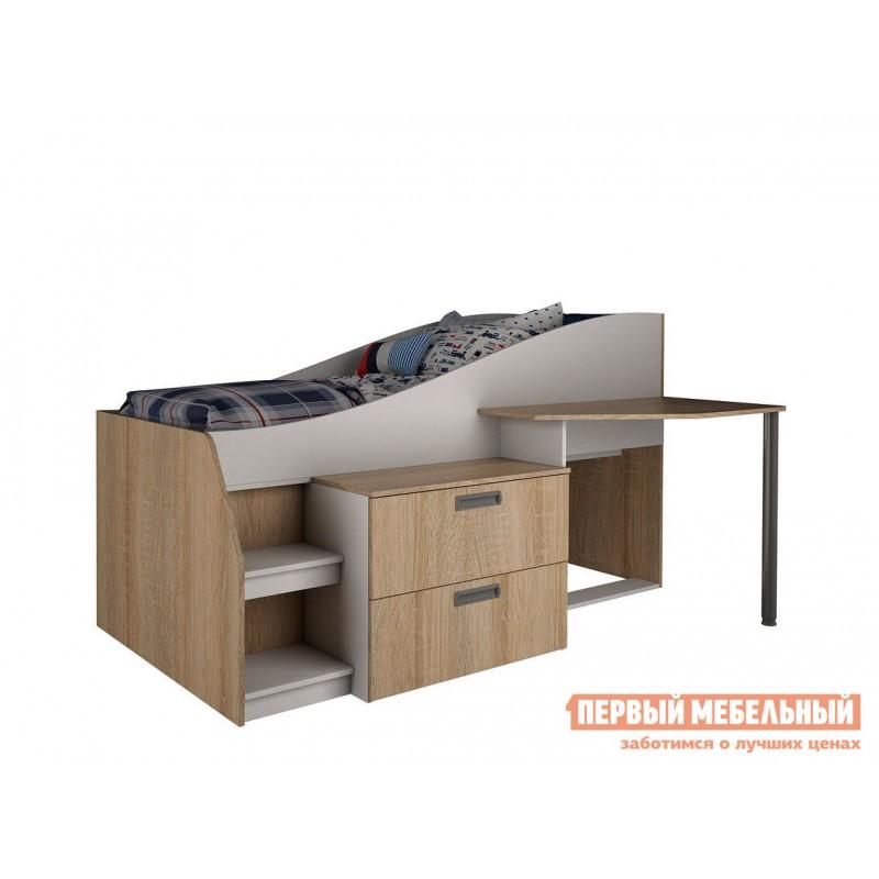 Кровать-чердак  Детская Скаут Дуб сонома / Белый