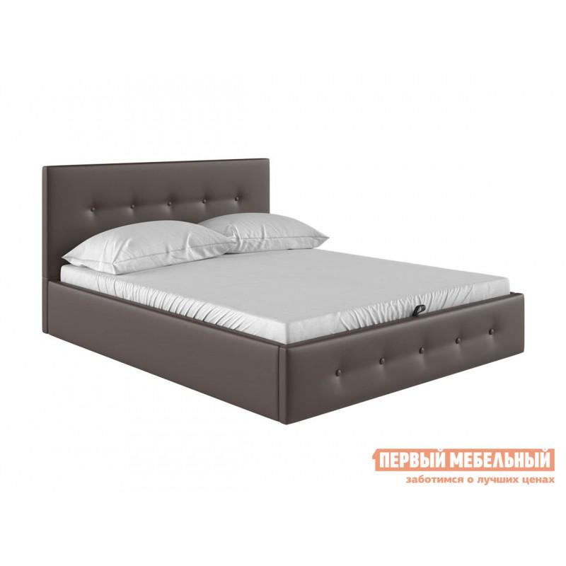 Двуспальная кровать  Колумбия ПМ Коричневый экокожа, 1600 Х 2000 мм