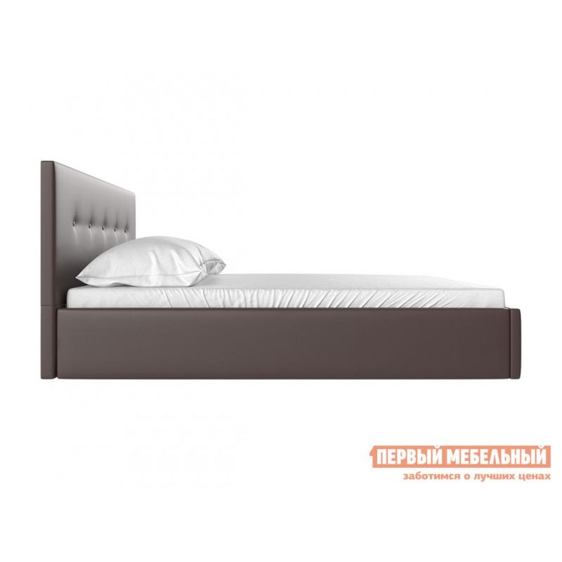 Двуспальная кровать  Колумбия ПМ Коричневый экокожа, 1600 Х 2000 мм (фото 3)