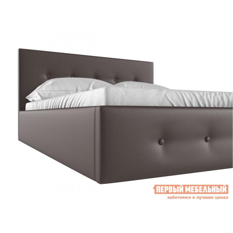 Двуспальная кровать  Колумбия ПМ Коричневый экокожа, 1600 Х 2000 мм (фото 4)