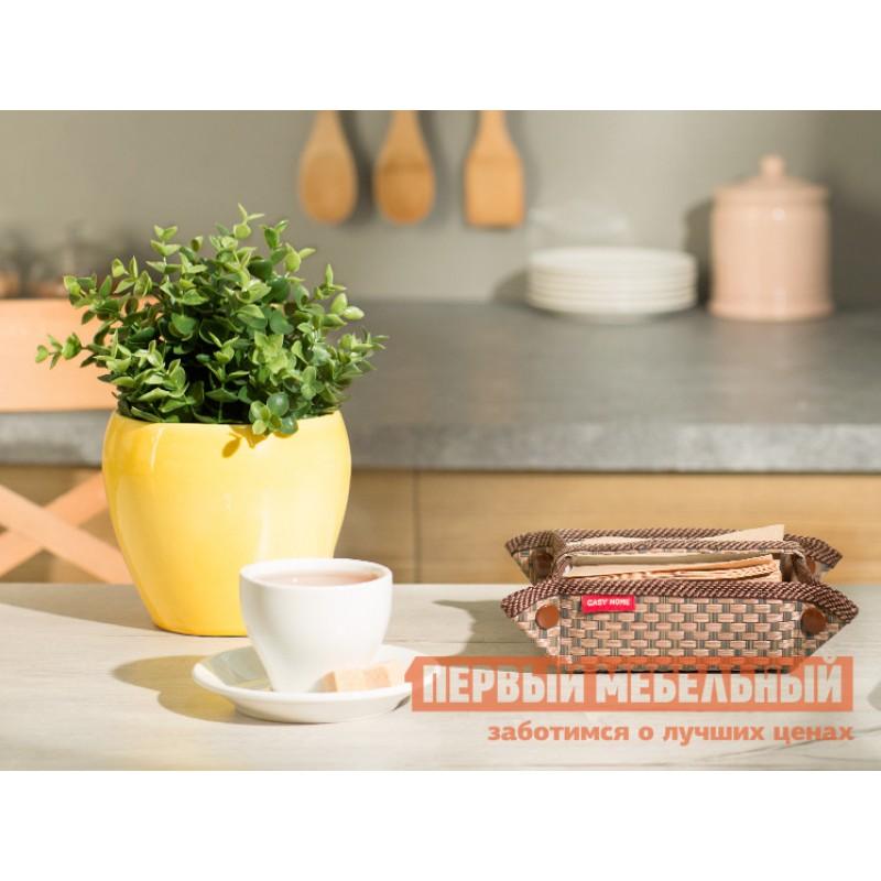 Аксессуары для сервировки и хранения  Салфетница 13х13х6см Коричневый, текстилен / Бежевый, цветы (фото 2)