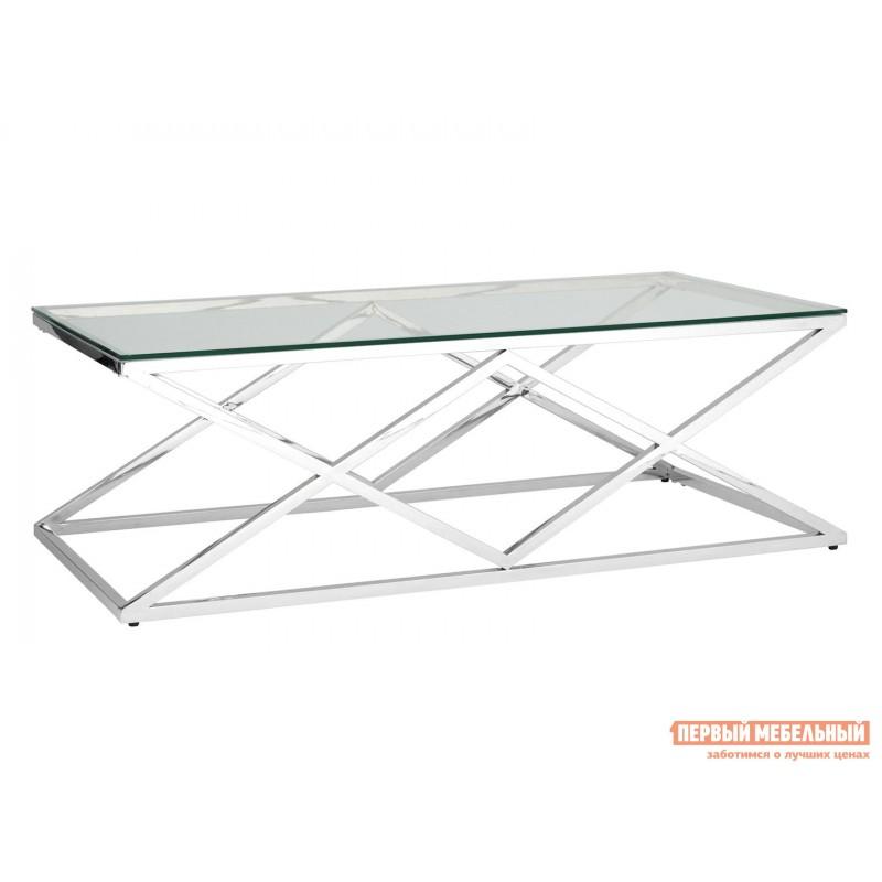 Журнальный столик  ECT-026 Прозрачное стекло / Сталь, серебро