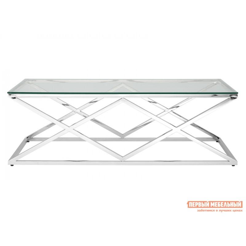 Журнальный столик  ECT-026 Прозрачное стекло / Сталь, серебро (фото 2)