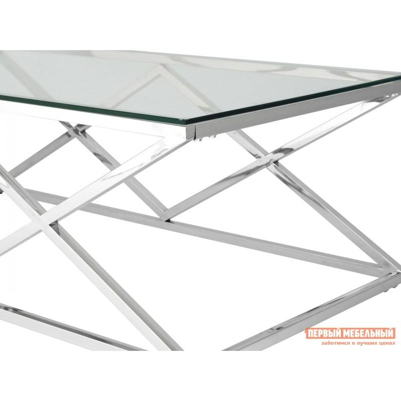 Журнальный столик  ECT-026 Прозрачное стекло / Сталь, серебро (фото 3)