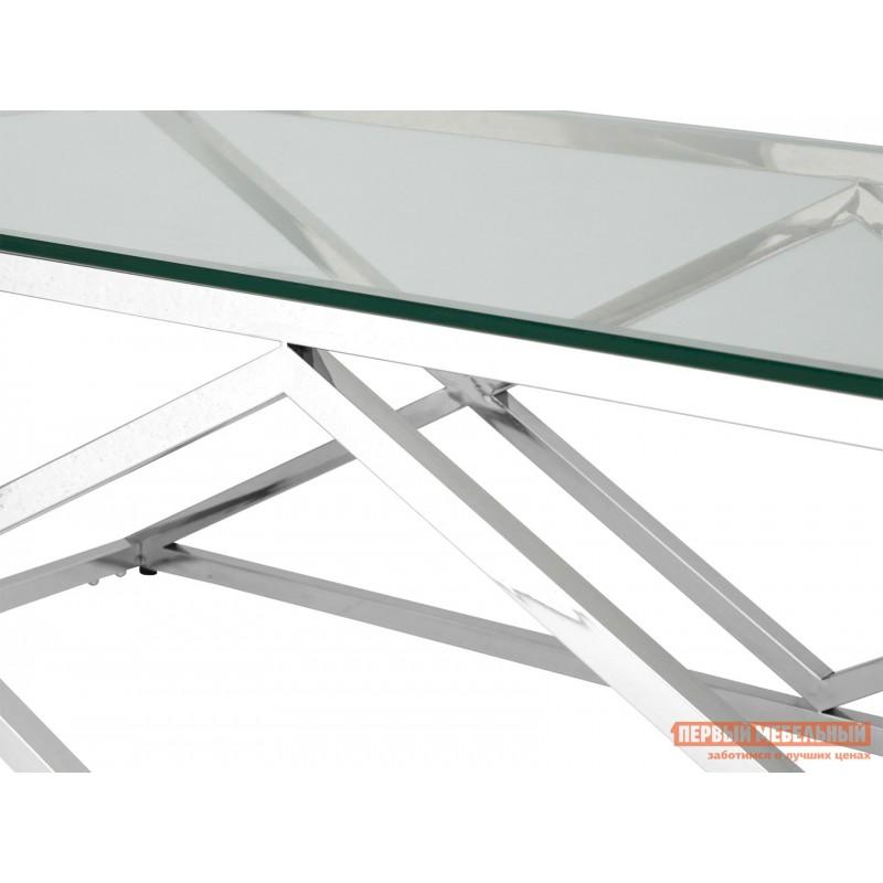 Журнальный столик  ECT-026 Прозрачное стекло / Сталь, серебро (фото 4)