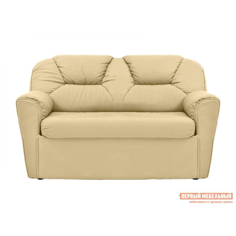 Прямой диван  Диван 2-х местный Бизон Кремовый, экокожа (фото 2)