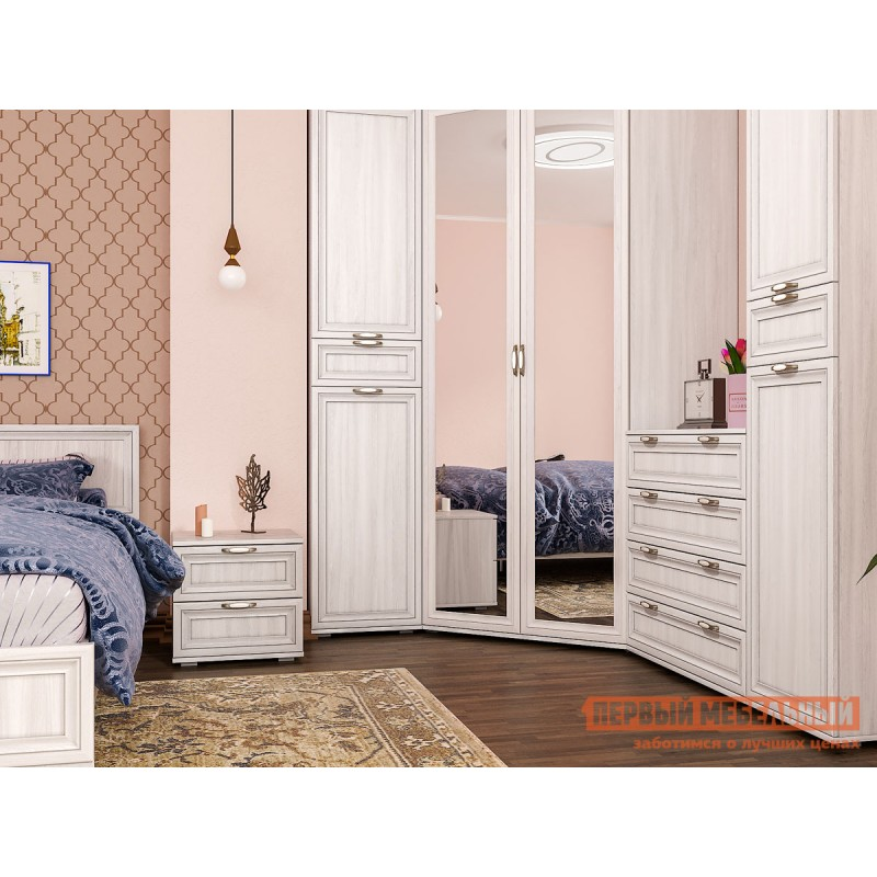 Распашной шкаф  Шкаф пенал Аврора 1705 Ясень Анкор светлый (фото 8)