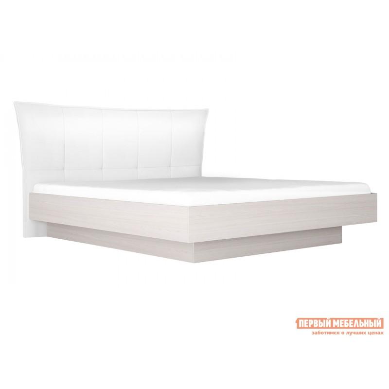 Двуспальная кровать  Кровать с подъемным механизмом Парма НЕО 4 Ясень анкор светлый / Экокожа белая, 1600 Х 2000 мм
