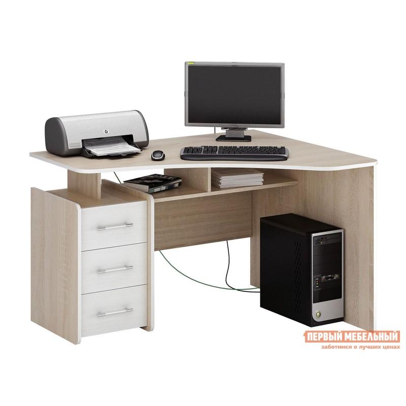 Компьютерный стол  Триан-5 Дуб сонома / Белый, Правый