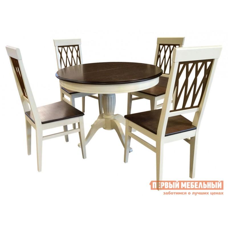 Обеденная группа для столовой и гостиной  Леонардо стол + 4 стула Кристиан Слоновая кость / Орех темный / Стекло