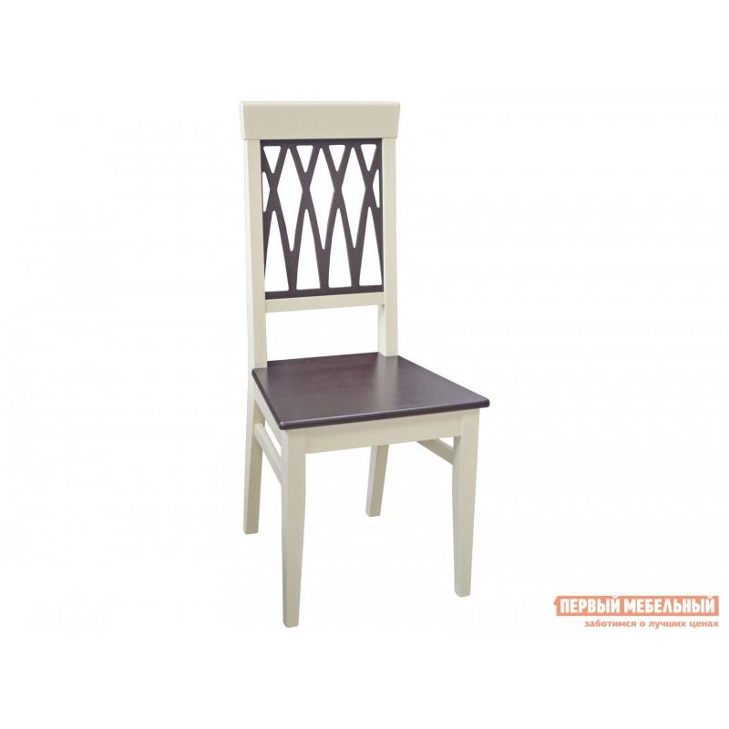 Обеденная группа для столовой и гостиной  Леонардо стол + 4 стула Кристиан Слоновая кость / Орех темный / Стекло (фото 2)