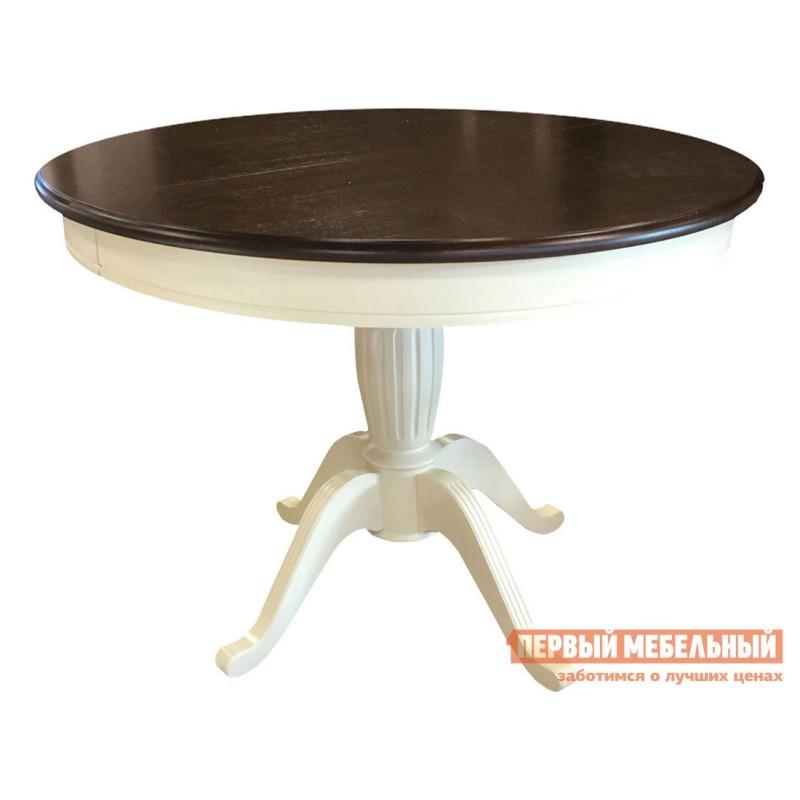 Обеденная группа для столовой и гостиной  Леонардо стол + 4 стула Кристиан Слоновая кость / Орех темный / Стекло (фото 3)