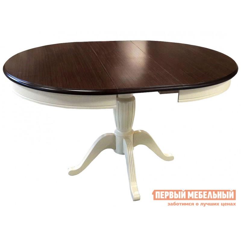 Обеденная группа для столовой и гостиной  Леонардо стол + 4 стула Кристиан Слоновая кость / Орех темный / Стекло (фото 4)