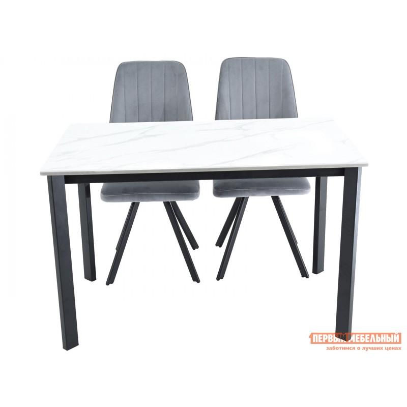 Кухонный стол  Пуэрто Белый камень / Черный муар (фото 10)
