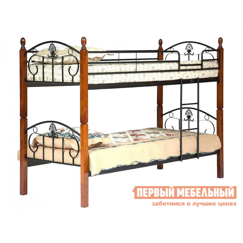 Кровать  10079 Кровать BOLERO двухярусная Красный дуб / Чёрный