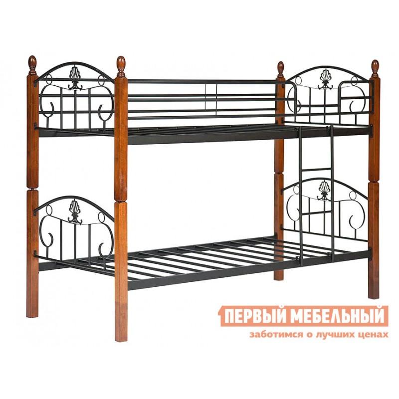 Кровать  10079 Кровать BOLERO двухярусная Красный дуб / Чёрный (фото 2)