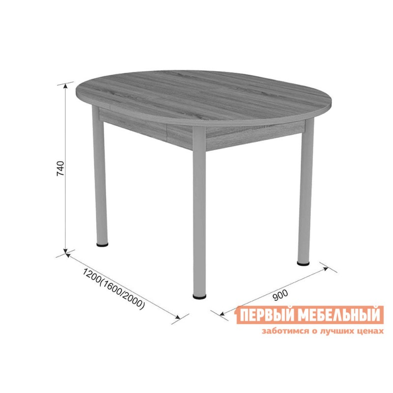 Кухонный стол  Квартет Дуб сонома / Серый, металл (фото 2)