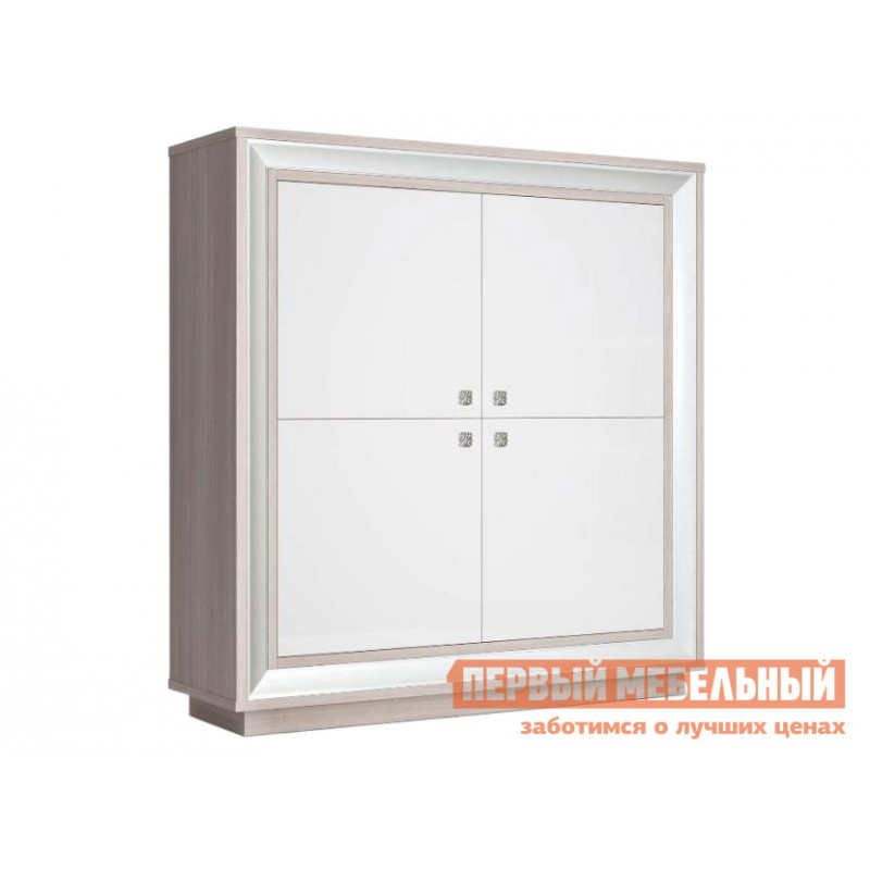 Распашной шкаф  Шкаф 4-х дверный низкий Прато Корпус Ясень Шимо светлый, фасад Жемчуг, багет Жемчуг