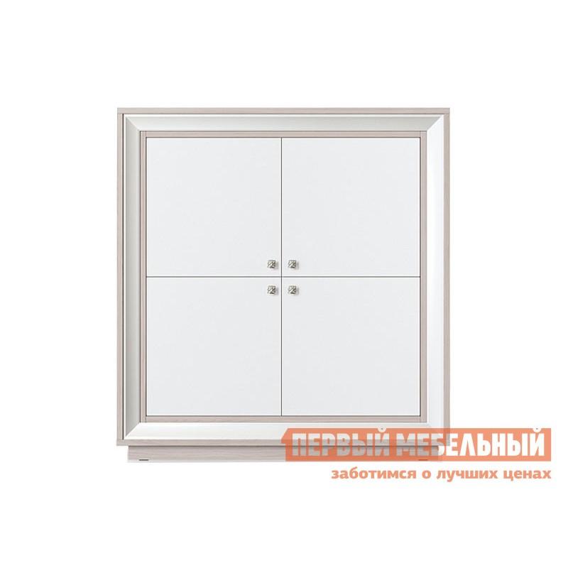 Распашной шкаф  Шкаф 4-х дверный низкий Прато Корпус Ясень Шимо светлый, фасад Жемчуг, багет Жемчуг (фото 2)