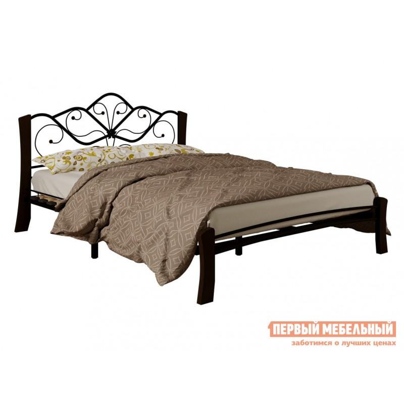 Двуспальная кровать  Кровать Веста Лайт Черный металл, каркас / Шоколад массив, опоры, 1400 Х 2000 мм