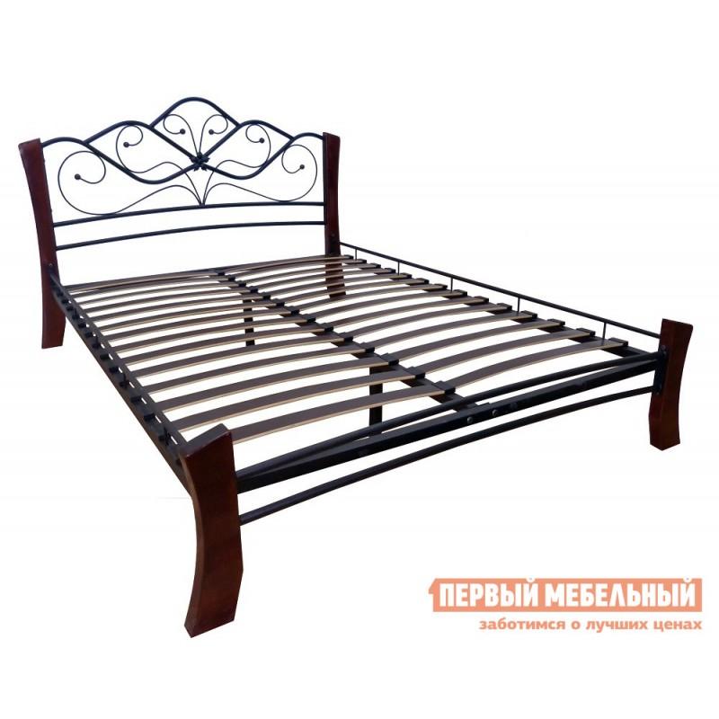 Двуспальная кровать  Кровать Веста Лайт Черный металл, каркас / Шоколад массив, опоры, 1400 Х 2000 мм (фото 2)