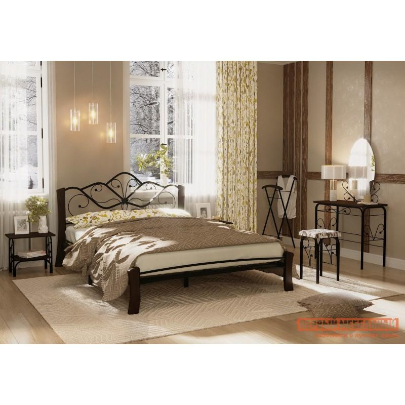 Двуспальная кровать  Кровать Веста Лайт Черный металл, каркас / Шоколад массив, опоры, 1400 Х 2000 мм (фото 3)