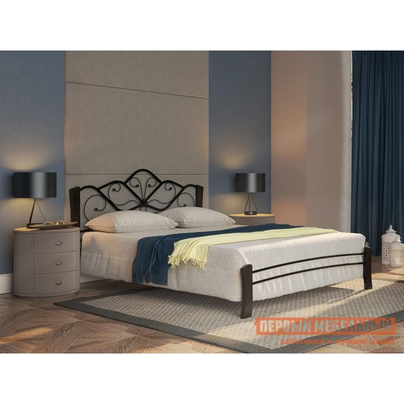 Двуспальная кровать  Кровать Веста Лайт Черный металл, каркас / Шоколад массив, опоры, 1400 Х 2000 мм (фото 4)