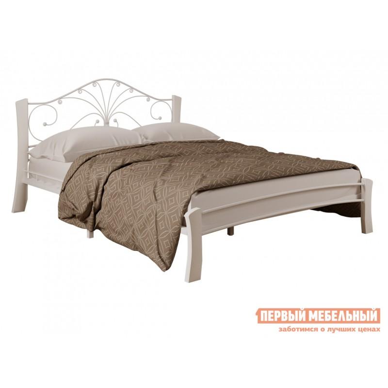 Односпальная кровать  Сандра лайт Кремовый металл, каркас / Белый массив, опоры, 1200 Х 2000 мм