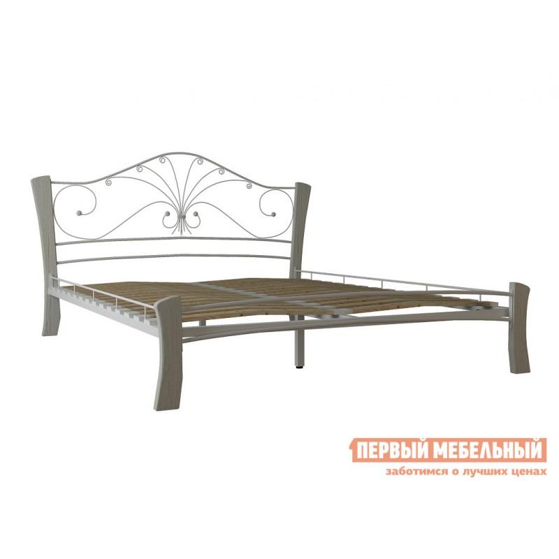 Односпальная кровать  Сандра лайт Кремовый металл, каркас / Белый массив, опоры, 1200 Х 2000 мм (фото 2)