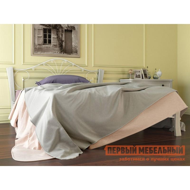Односпальная кровать  Сандра лайт Кремовый металл, каркас / Белый массив, опоры, 1200 Х 2000 мм (фото 3)