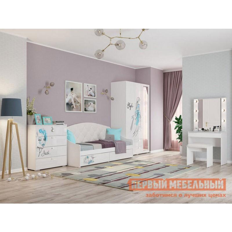 Комплект детской мебели  Гламур Белый / Белый глянец