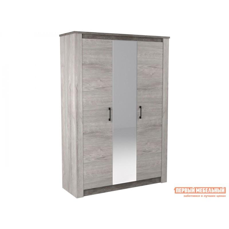 Распашной шкаф  Шкаф 3-х дв. Денвер Риббек серый / Камень темный, Без дополнительных полок, Высота 2194 мм