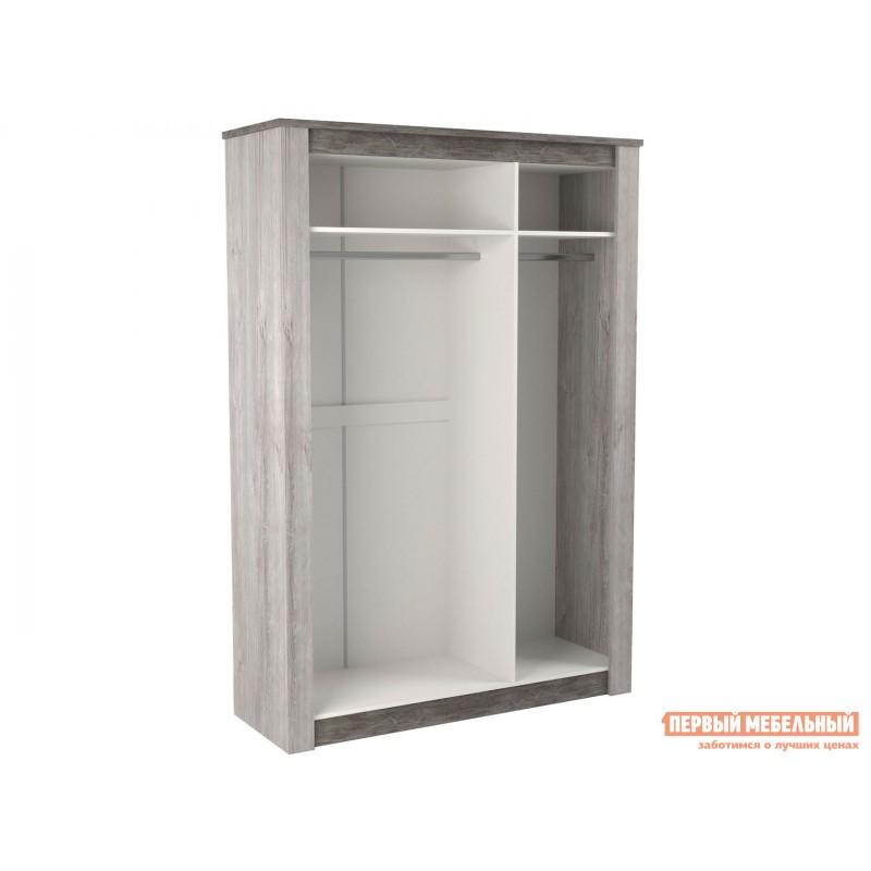 Распашной шкаф  Шкаф 3-х дв. Денвер Риббек серый / Камень темный, Без дополнительных полок, Высота 2194 мм (фото 2)
