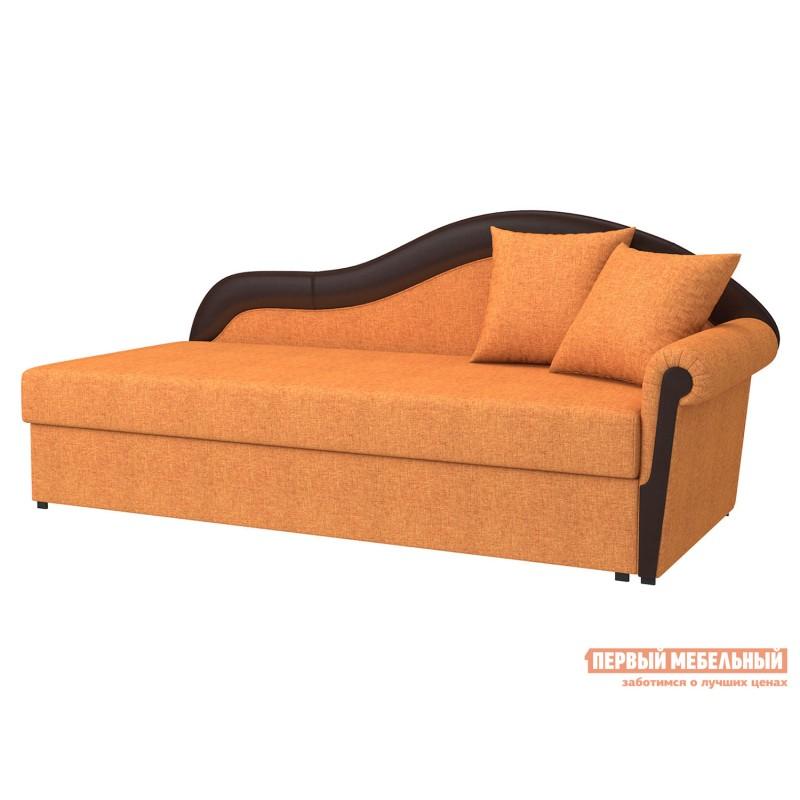 Угловой диван  Вентура Терракота, рогожка / Коричневый, иск. кожа, Правый